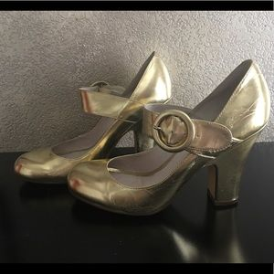 Gold Mary Janes